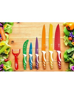 HIGH QUALITY KITCHEN KNIVES ROYALTY LINE SET OF 7 PIECES 7 COLOURS